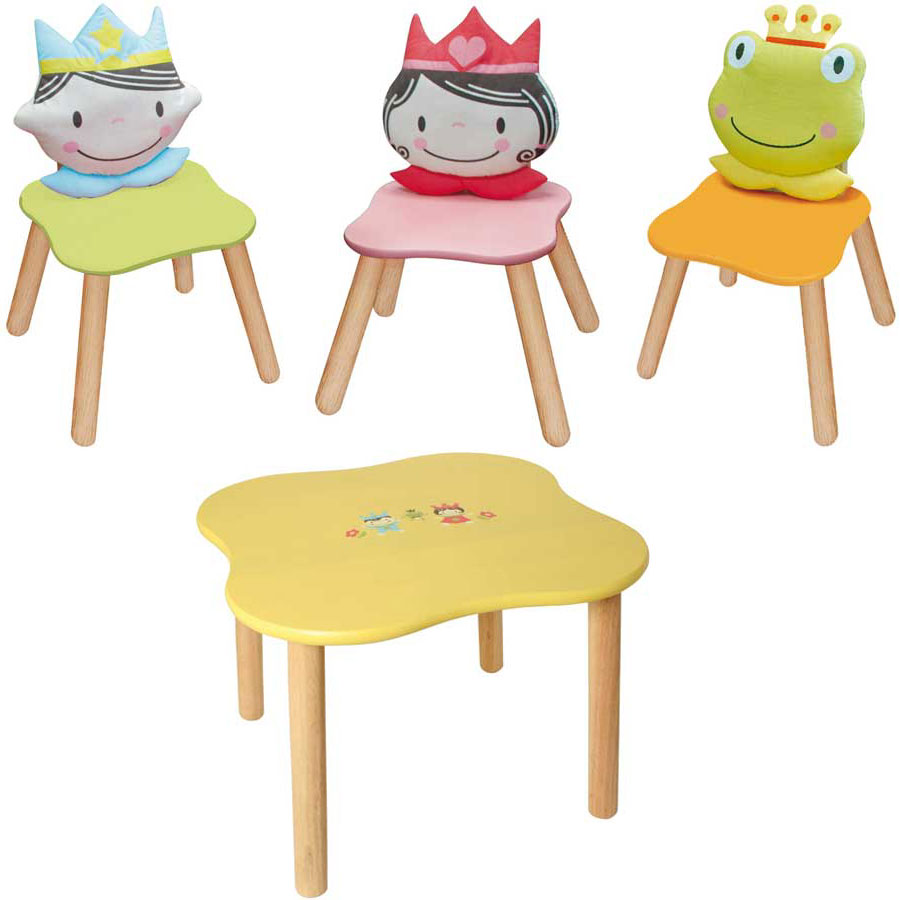 bartl spielwaren 4 tlg set 3 kinder st hle und 1 tisch prinz prinzessin frosch ebay. Black Bedroom Furniture Sets. Home Design Ideas